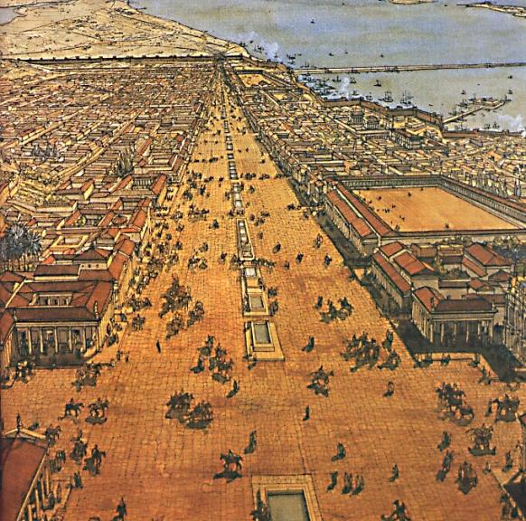 Εικόνα 2α) Αναπαράσταση της Αλεξάνδρειας, κοιτώντας κατα μήκος της Κανωπικής οδού προς τα δυτικά. Δεξια στο βάθος (βορράς) είναι το Επταστάδιο, αριστερά ο λόφος στον οποίο ήταν το Σεραπείο.
